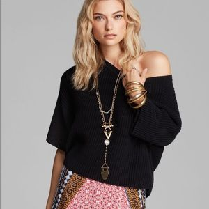 Free People Ribbed Black Knit Crop Boxy Sweater